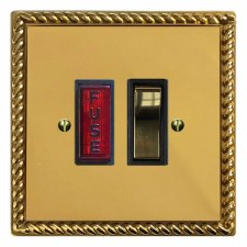 Georgian Switched Fused Spur Illuminated Polished Brass Lacquered & Black Trim