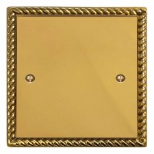Georgian Single Blank Plate Polished Brass Lacquered
