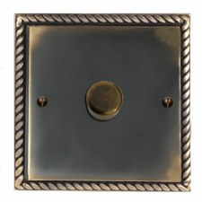 Georgian Dimmer Switch 1 Gang Dark Antique Relief