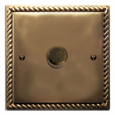 Georgian Dimmer Switch 1 Gang Hand Aged Brass