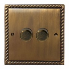 Georgian Dimmer Switch 2 Gang Antique Brass Lacquered