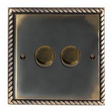Georgian Dimmer Switch 2 Gang Dark Antique Relief