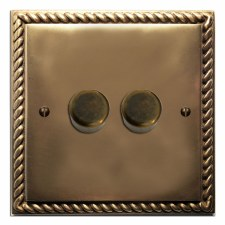 Georgian Dimmer Switch 2 Gang Hand Aged Brass