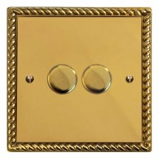 Georgian Dimmer Switch 2 Gang Polished Brass Unlacquered