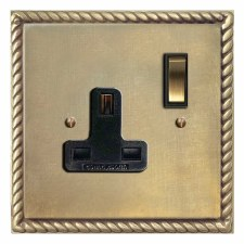 Georgian Switched Socket 1 Gang Antique Satin Brass