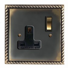Georgian Switched Socket 1 Gang Dark Antique Relief
