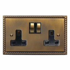 Georgian Switched Socket 2 Gang Antique Brass Lacquered