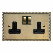 Georgian Switched Socket 2 Gang Antique Satin Brass