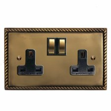 Georgian Switched Socket 2 Gang Hand Aged Brass