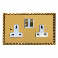 Georgian Switched Socket 2 Gang Polished Brass Lacquered & White Trim