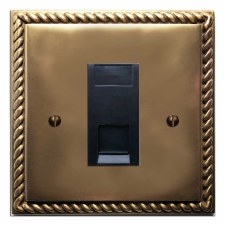 Georgian Telephone Socket Secondary Hand Aged Brass