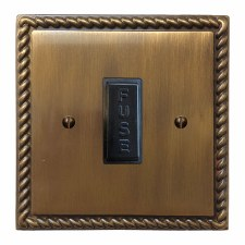 Georgian Fused Spur Connection Unit 13 Amp Antique Brass Lacquered