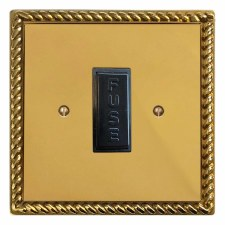 Georgian Fused Spur Connection Unit 13 Amp Polished Brass Lacquered & Black Trim