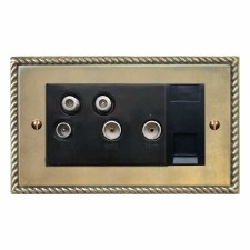 Georgian Sky+ Socket Antique Satin Brass