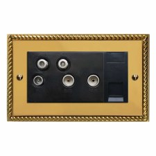Georgian Sky+ Socket Polished Brass Lacquered & Black Trim