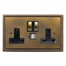 Georgian Switched Socket 2 Gang USB Antique Brass Lacquered