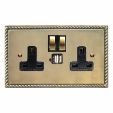 Georgian Switched Socket 2 Gang USB Antique Satin Brass