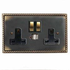 Georgian Switched Socket 2 Gang USB Dark Antique Relief