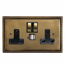 Georgian Switched Socket 2 Gang USB Hand Aged Brass
