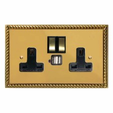Georgian Switched Socket 2 Gang USB Polished Brass Lacquered & Black Trim