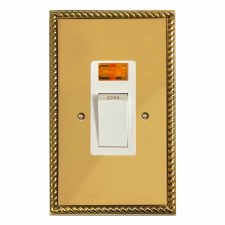 Georgian Vertical Cooker Switch Polished Brass Lacquered & White Trim