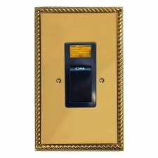 Georgian Telephone Socket Secondary Polished Brass Lacquered & Black Trim