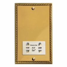 Georgian Shaver Socket Polished Brass Lacquered & White Trim