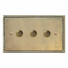 Georgian Dimmer Switch 3 Gang Antique Satin Brass