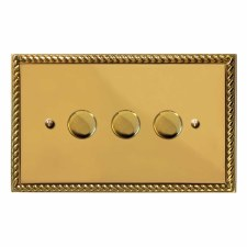 Georgian Dimmer Switch 3 Gang Polished Brass Unlacquered
