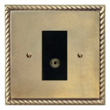 Georgian TV Socket Outlet Antique Satin Brass