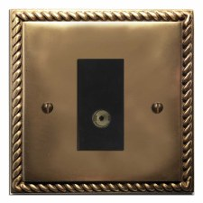 Georgian TV Socket Outlet Hand Aged Brass