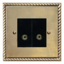 Georgian TV Socket Outlet 2 Gang Antique Satin Brass