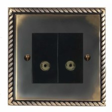 Georgian TV Socket Outlet 2 Gang Dark Antique Relief