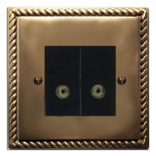 Georgian TV Socket Outlet 2 Gang Hand Aged Brass