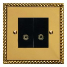 Georgian TV Socket Outlet 2 Gang Polished Brass Lacquered & Black Trim
