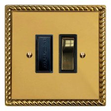 Georgian Switched Fused Spur Polished Brass Unlacquered