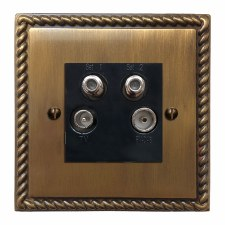 Georgian Quadplex TV Socket Antique Brass Lacquered