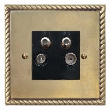 Georgian Quadplex TV Socket Antique Satin Brass