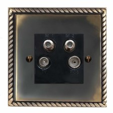 Georgian Quadplex TV Socket Dark Antique Relief