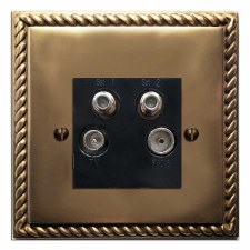 Georgian Quadplex TV Socket Hand Aged Brass