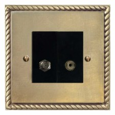 Georgian Satellite & TV Socket Outlet Antique Satin Brass