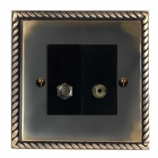 Georgian Satellite & TV Socket Outlet Dark Antique Relief