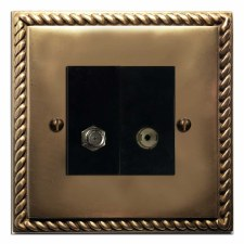 Georgian Satellite & TV Socket Outlet Hand Aged Brass