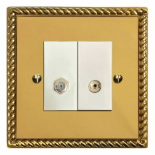 Georgian Satellite & TV Socket Outlet Polished Brass Lacquered & White Trim