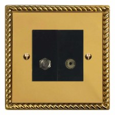 Georgian Satellite & TV Socket Outlet Polished Brass Lacquered & Black Trim