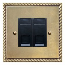 Georgian Telephone Socket Secondary 2 Gang Antique Satin Brass