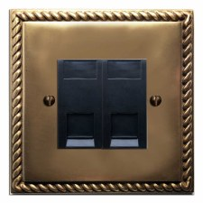 Georgian Telephone Socket Secondary 2 Gang Hand Aged Brass