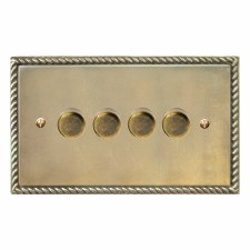 Georgian Dimmer Switch 4 Gang Antique Satin Brass