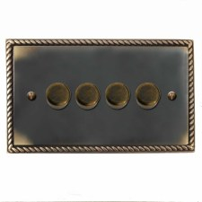 Georgian Dimmer Switch 4 Gang Dark Antique Relief