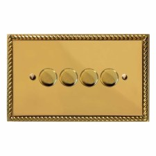 Georgian Dimmer Switch 4 Gang Polished Brass Lacquered